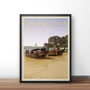 Railay Beach Vintage Style Travel Print - posters & prints