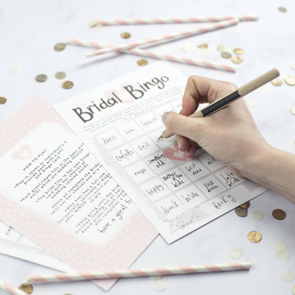 bridal bingo hen party game by tandem green | notonthehighstreet.com