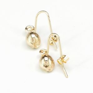 Solid Gold Cowrie Shell Earrings