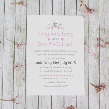 Lace Love Birds Wedding Stationery Range