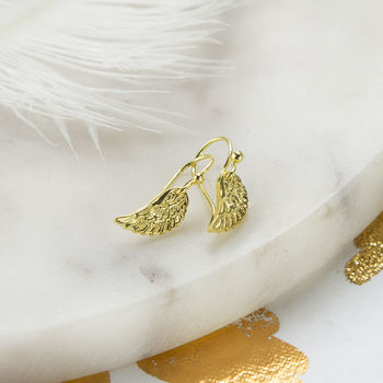 Gold Plated Sterling Silver Angel Wing Earrings