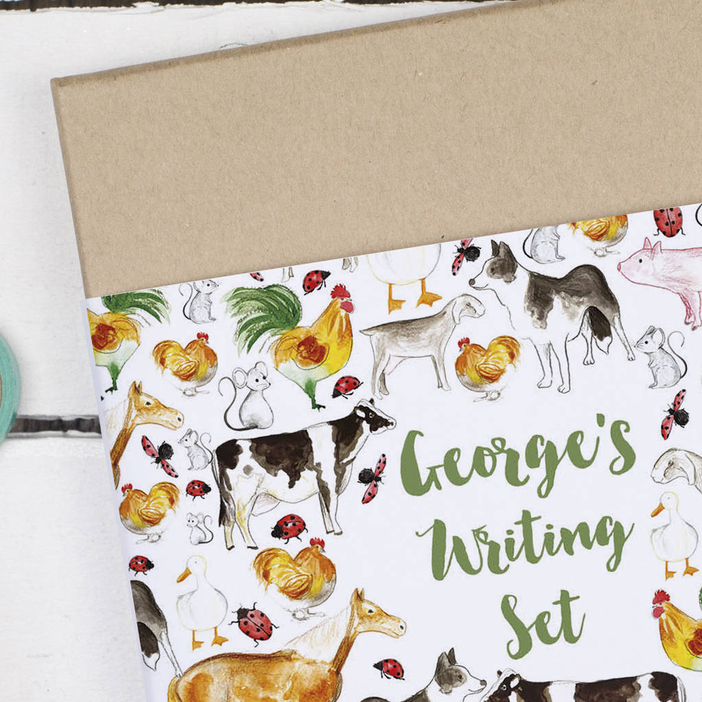 Personalised Farm Animals Children 39 S Writing Set By Alexia