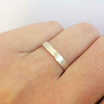 Slim Silver Ring With Nibbled Edges
