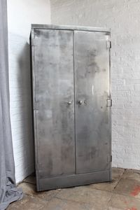 Marco Vintage Stripped Steel Stationery Cupboard - cabinets