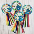 Handmade Rainbow Birthday Rosette Badge