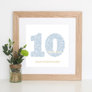 Personalised 10th Wedding Anniversary Gift - posters & prints