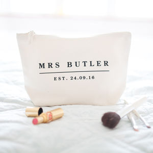 Personalised Wedding Date Make Up Bag - honeymoon accessories
