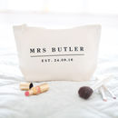 Personalised Wedding Date Make Up Bag