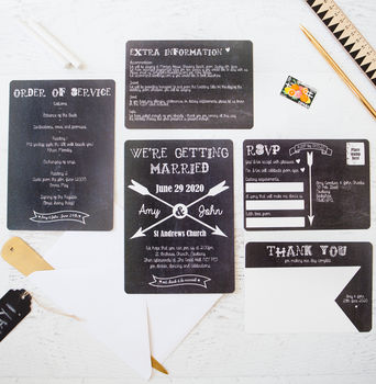 Chalkboard And Arrow Wedding Stationery