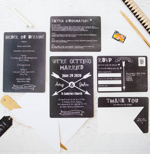 Chalkboard And Arrow Wedding Stationery - invitations