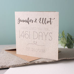 Anniversary Linen Time Card - shop by occasion