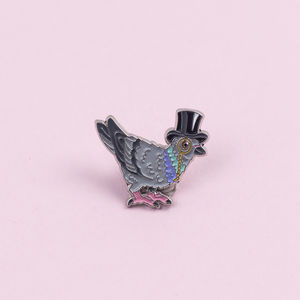 Pigeon In A Top Hat Enamel Pin Badge
