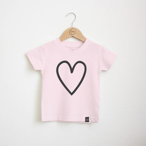 Pink Heart Outline T Shirt