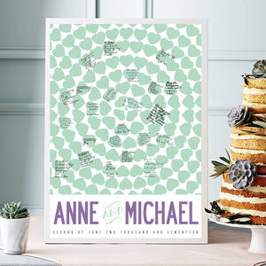 Personalised Hearts Wedding Guest Book, Large Print - posters & prints