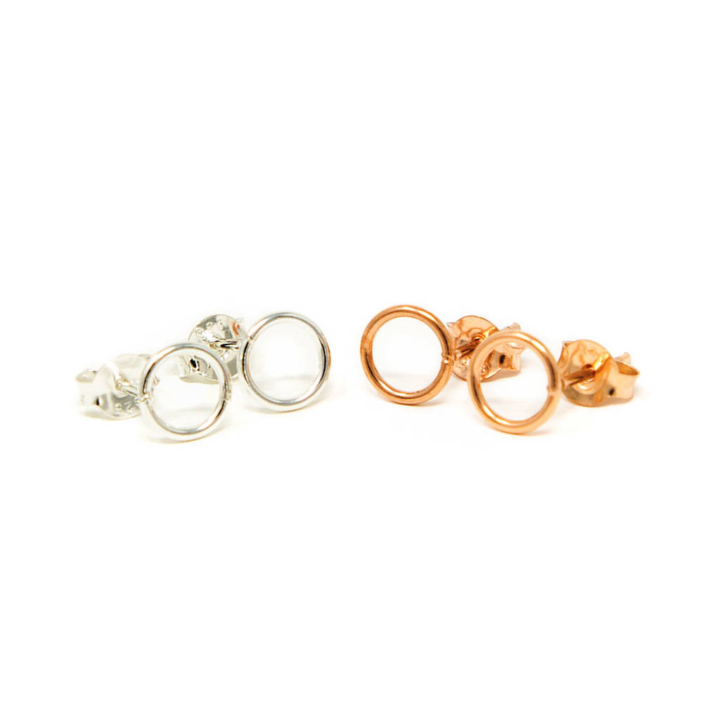 Rose Gold And Silver Circle Studs