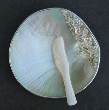 Mother Of Pearl Dish With Silver Finish