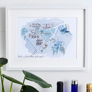 Dad's Favourite Pubs Footprint Illustrated Map - gifts for grandparents