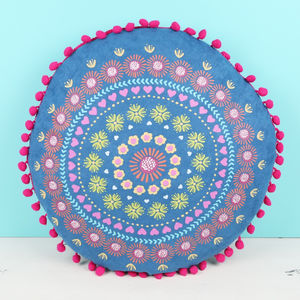 Printed Round Pom Pom Cushion