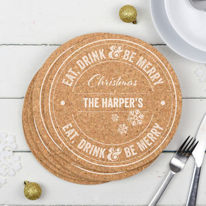 Personalised Cork Christmas Placemats Set Of Four
