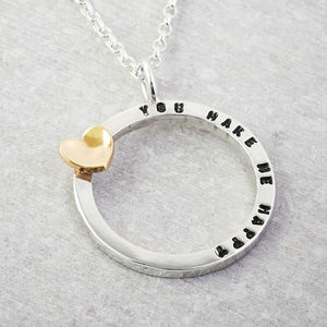 Silver Tiny Text Personalised Necklace Solid Gold Heart - gold necklaces