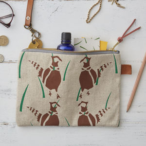 Pheasants Linen Zipped Purse - make-up bags