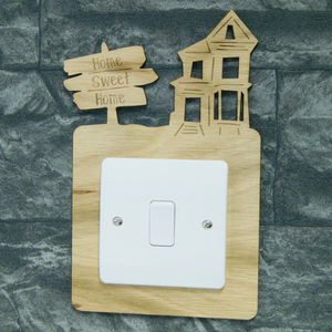 Personalised Wooden Light Switch Surround - light switches & pulls