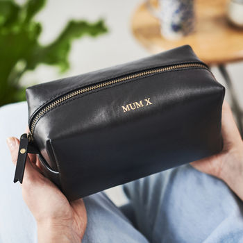 Personalised Leather Wash Bag For Women