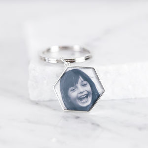 Personalised Hexagon Photo Message Keyring