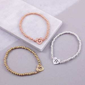 Personalised Heart Bead Bracelet - gifts for mothers