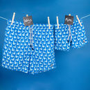 Father And Son Matching Blue Seagulls Swim Shorts