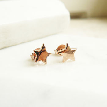 Rose Gold Star Stud Earrings