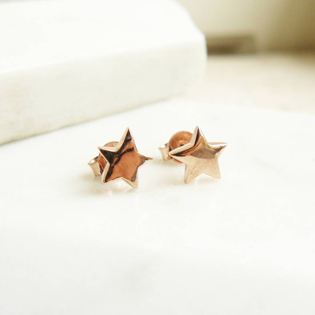 861c0bccb star stud earrings in rose gold vermeil by lime tree design ...