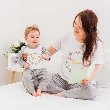 Personalised Mummy And Me Pyjamas / Babygrow Set