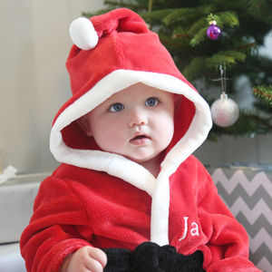 Personalised Boy's Red Santa Robe