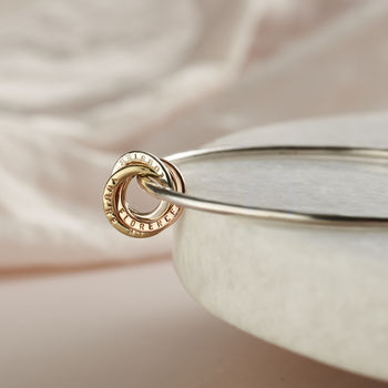 Personalised 9ct Gold And Silver Russian Ring Bangle