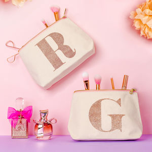 Rose Gold Glitter Initial Makeup Bag - make-up & wash bags