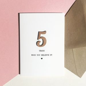 5th Anniversary Card With Wood Detail - wedding, engagement & anniversary cards