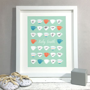 Tea Party Baby Shower Personalised Guest Book Print