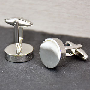 Solid Disc Personalised Cufflinks - cufflinks