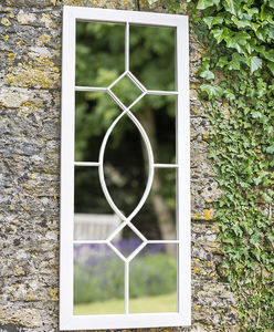 Tall Rectangular Cream Metal Garden Mirror - mirrors
