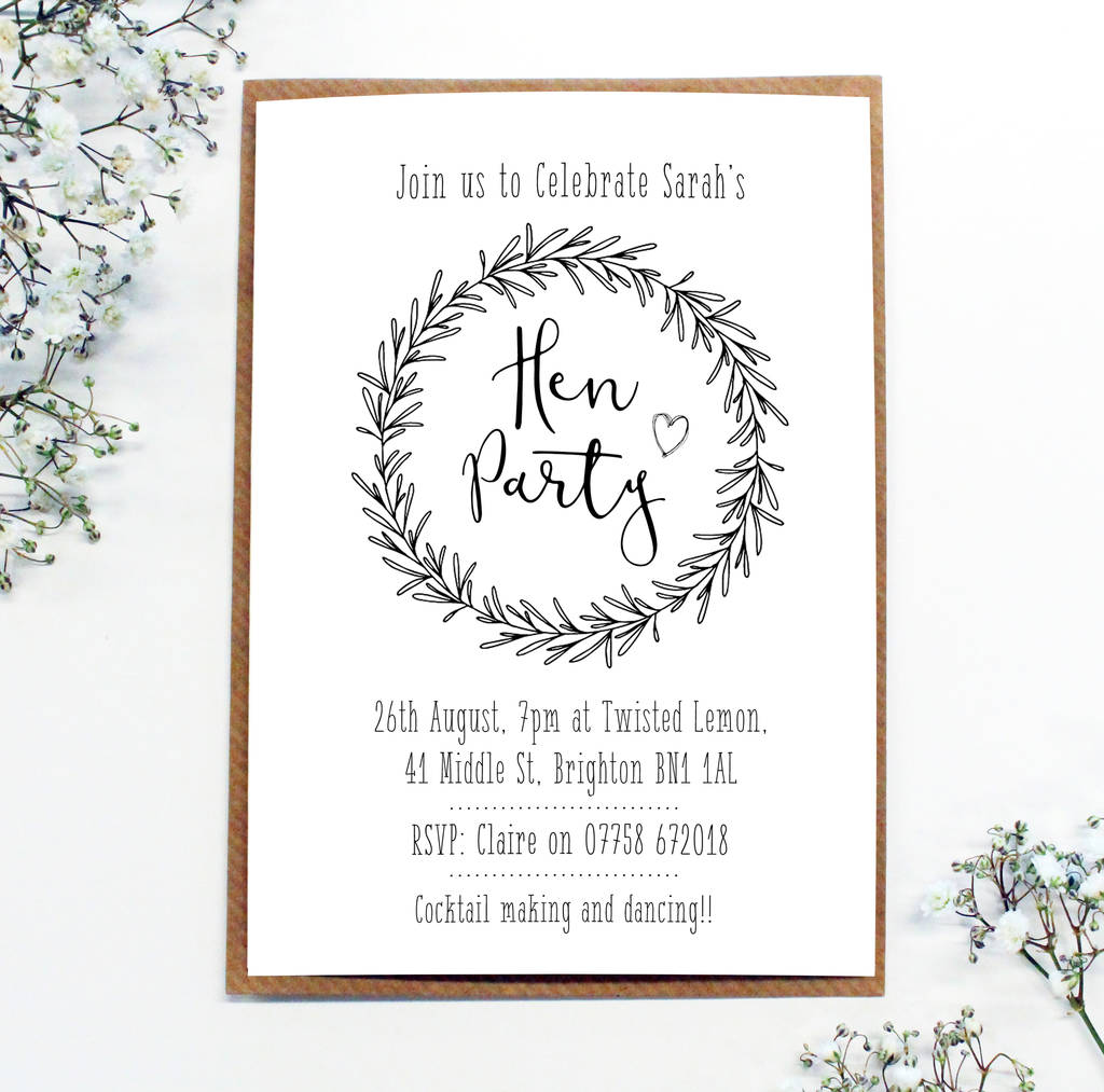 personalised \'hen party\' wreath invitations by precious little ...