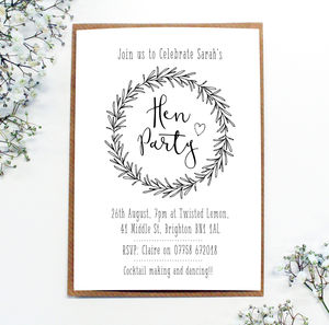 Personalised 'Hen Party' Wreath Invitations - hen party gifts & styling