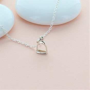 Silver Stirrup Charm Necklace