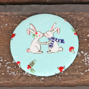 Kissing Bunny Fabric Handbag Mirror