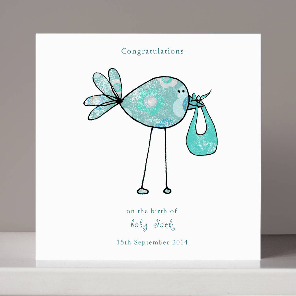 personalised  u0026 39 congratulations u0026 39  new baby card by molly moo
