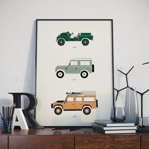 Iconic Defender 4x4 Collection Print - gifts for him