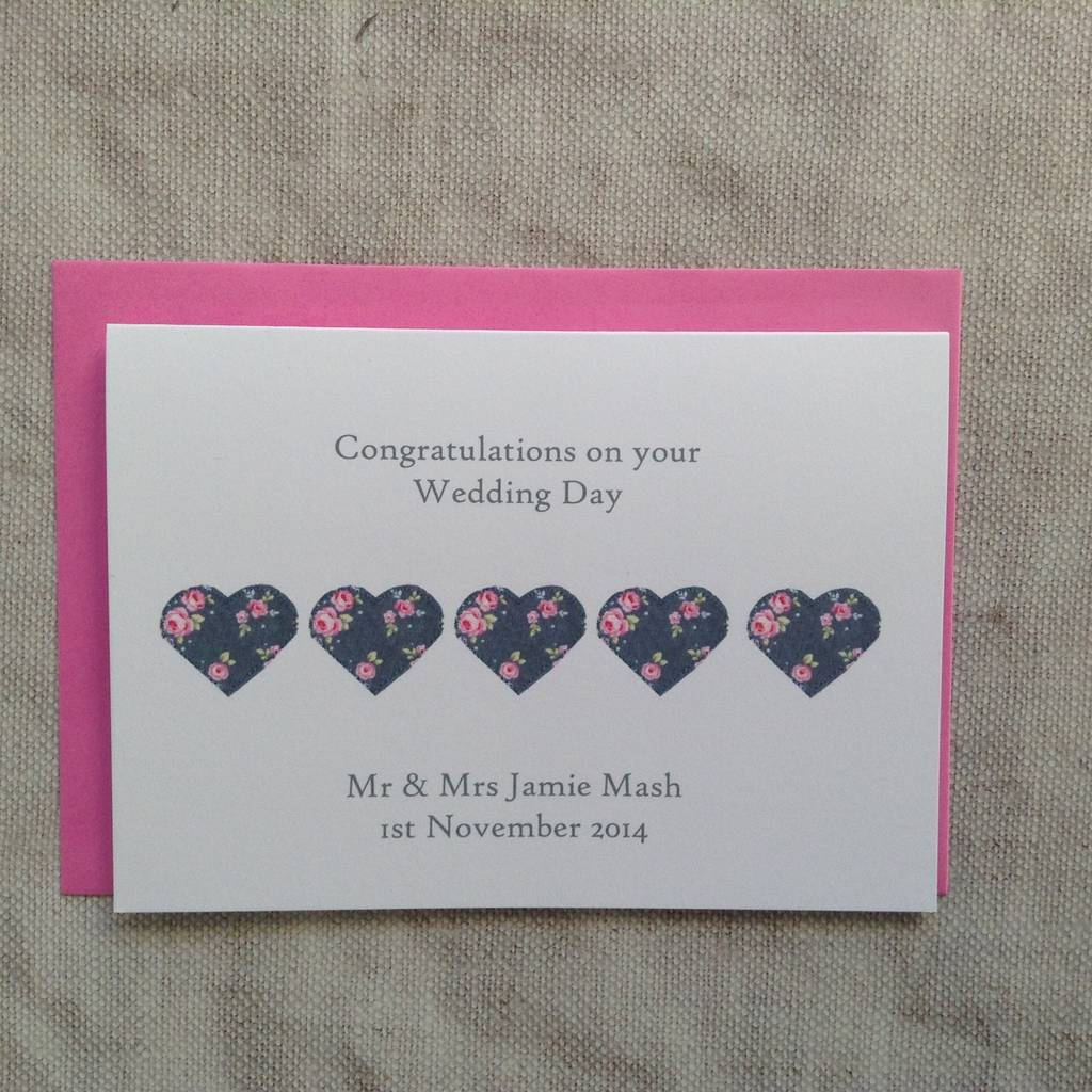 Personalised Hearts Wedding Day Card