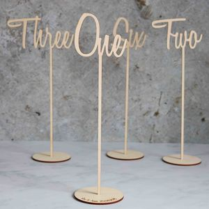 Handscript Wooden Table Numbers - decoration