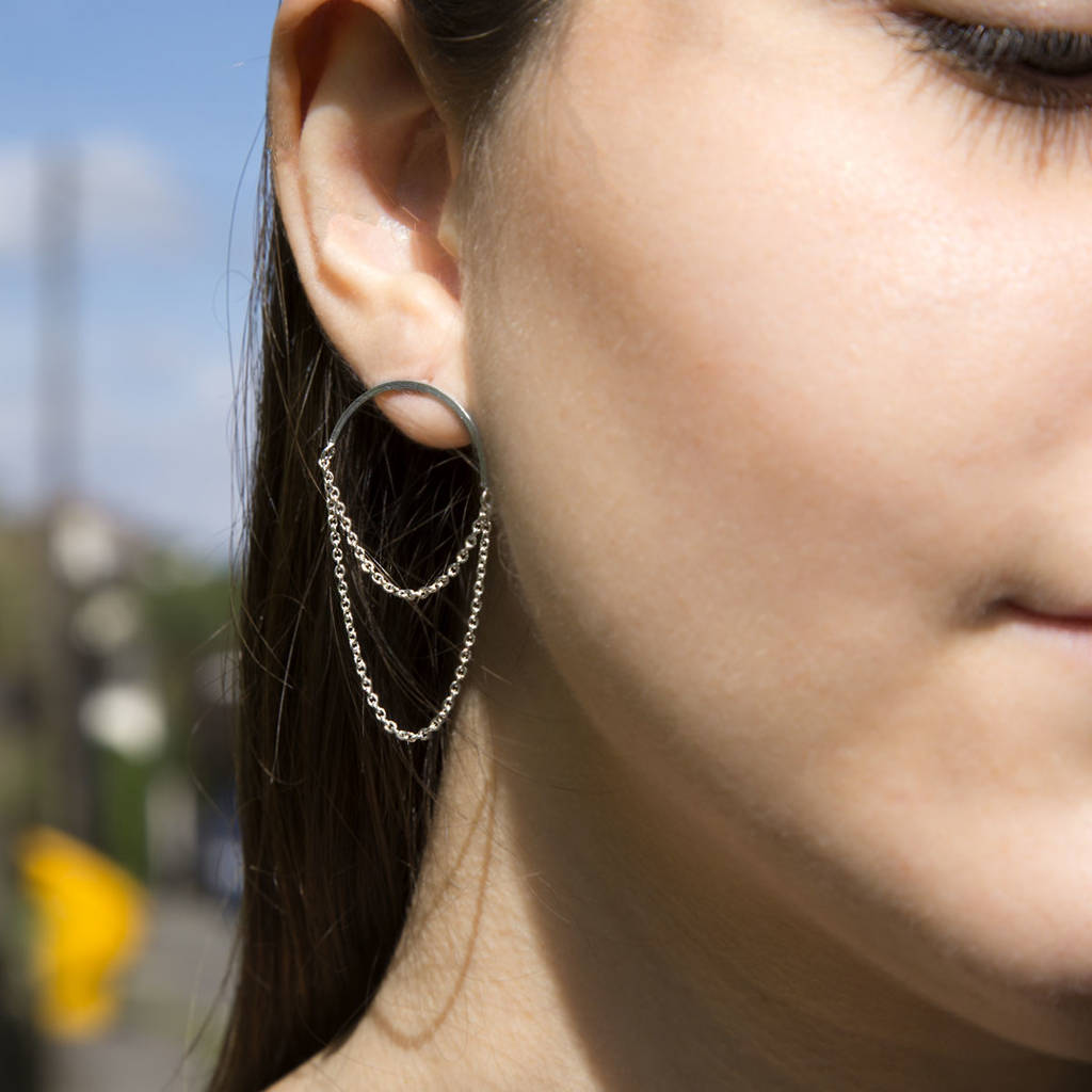Sterling Silver Chain Curve Earrings