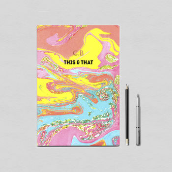 Personalised Beach Sundown Marble Notebook